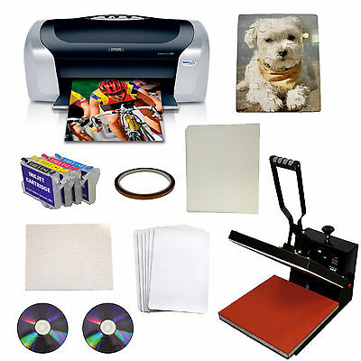 15x15 Heat Press,Transfer Puzzle Mouse Pad,Printer,Refillable Ink Startup Bundle