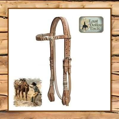 Smart Western Headstall & Reins Set~ Floral Tooled Leather With Rawhide Braids