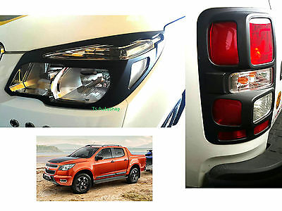 Matte Black Head+Tail Lamps Light Cover Fit Chevrolet Chevy Colorado Z71 2012-On