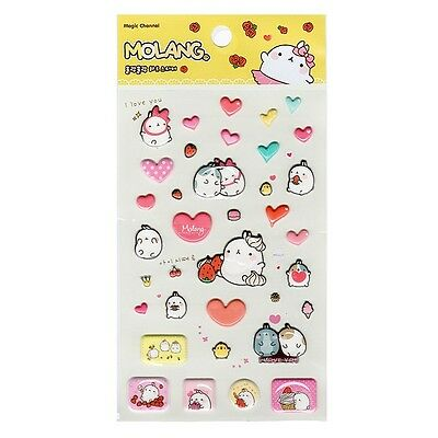 Marshmallow Bunny Lovely Molang 3D Puffy Sticker : Heart