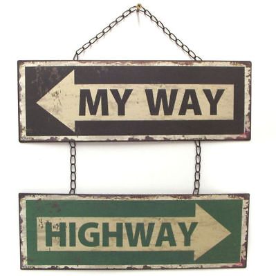 My Way Highway Sign Wall Art Hanging Ornament Plaque Metal Man Cave 40cm