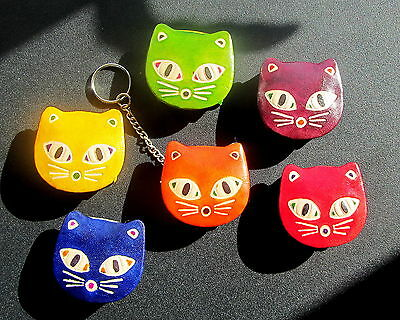 Leather Key Ring Cat Purse Assorted Colours