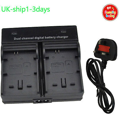 ^^Dual Twin Double AC Charger For Canon LP-E6 LP-E6N 5D 6D 7D II Battery UK-Ship