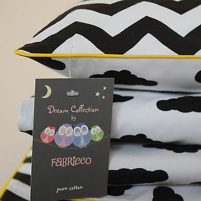 NEW 100% COTTON Children's Cot Bed Duvet Cover Set Black & White yellow piping