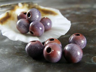 Torched Enameled Copper Beads-Periwinkle 8mm -Bohemian-Boho-(12)