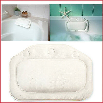 White Vinyl Bath Pillow CROYDEX Standard Cushioned Tub Relaxing Suction Grip NEW