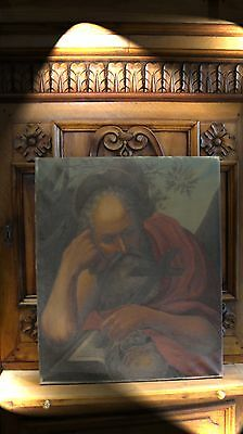ANTIQUE FRENCH 19th C SAINT ST. JEROME PORTRAIT OIL on CANVAS RELIGIOUS PAINTING