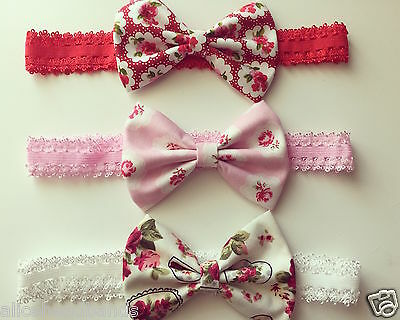 Fabric Bow With Lace Band Baby Girl Headbands Newborn Toddler Variety + Lot