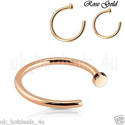 Rose Gold Small Open Nose Ring Hoop 0.6mm Cartilage Piercing Helix Nose Hoop
