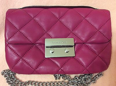 18ce546f84ec Michael Kors Quilted Leather Sloan Chain Messenger Crossbody Bag Raspberry  Pink