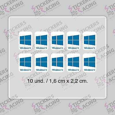 10 x WINDOWS 10 FOR PC LAPTOP HD AZUL CYAN STICKER LOGO DECAL BADGE ADHESIVO