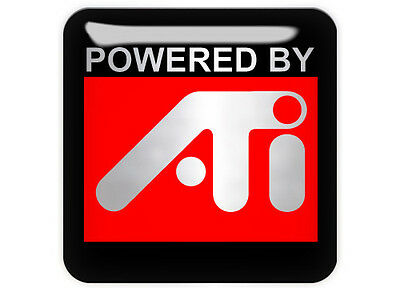 """Powered By ATI 1""""x1"""" Chrome Domed Case Badge / Sticker Logo"""