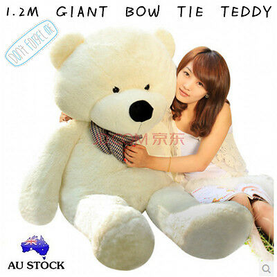 Huge 120Cm Giant White Teddy Bear Bow Tie Cuddly Soft Plush Toy Doll Stuffed