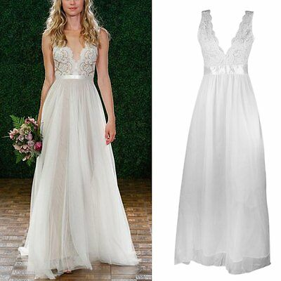 New Sexy Long Chiffon Formal Lace Party Cocktail Evening Prom Wedding maxi Dress