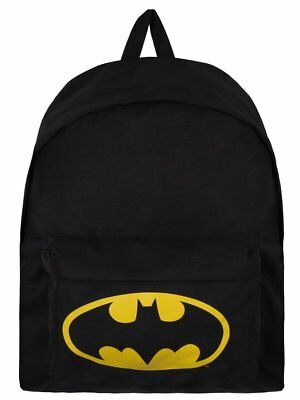 100% Official Batman Rucksack Backpack School Bag Yellow Black Logo DC Comics