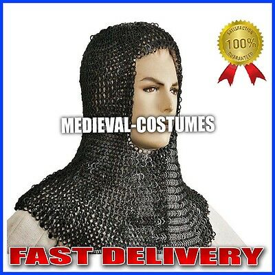 Functional Medieval Chainmail Coif Chain Maille Flat Ring Round Riveted SCA NKK