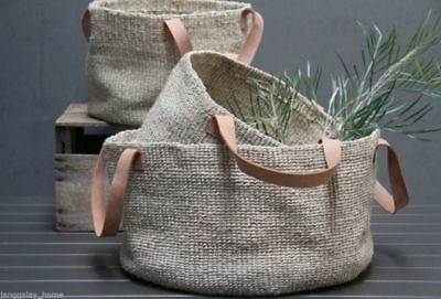 Woven Jute Basket with Leather Handles Storage Toy Shoe Baskets Large or Small