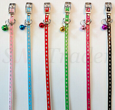 Cat Collar PU Leather Adjustable With Bling Bell Pet Puppy Kitten Safety Collars