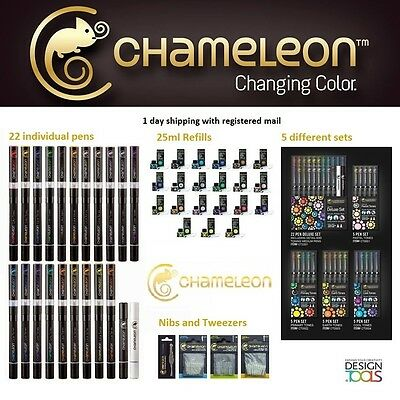 Chameleon Pens Permanent Alcohol Ink Colour Changing Markers and Refills NEW