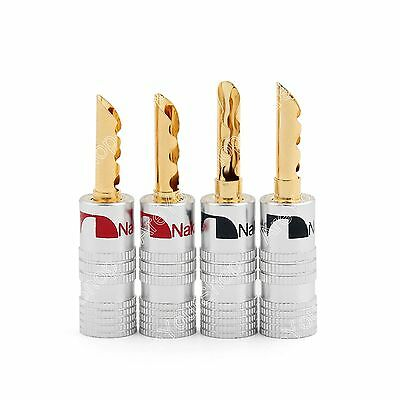 New 4 Pcs High-End Speaker Wire 4mm BFA Banana Plugs Gold Plated