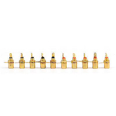10 Pcs Gold Plated RCA Phono Chassis Panel Mount Female Socket