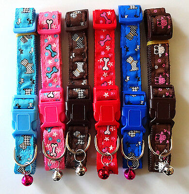 New Dog Puppy Cat Pet Nylon Collars With Bell Adjustable Red Pink blue Purple