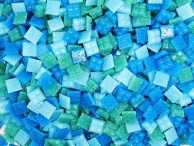 400 Vitreous Glass Mosaic Tiles Turquoise Mix Arts & Crafts 10mm