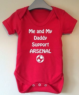 Me And My Daddy Support Arsenal Baby Body Grow Suit Vest Girl Boy Gift Idea