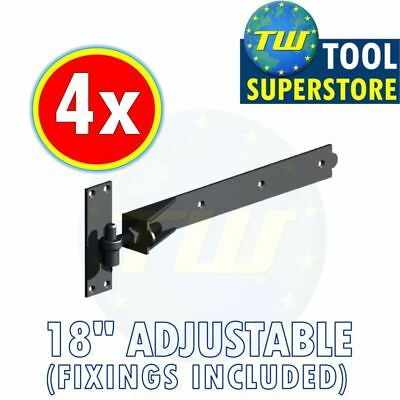 "4PK 18"" Adjustable Hook Band Hinges - Heavy Duty Gate Hinge + Black Finish"