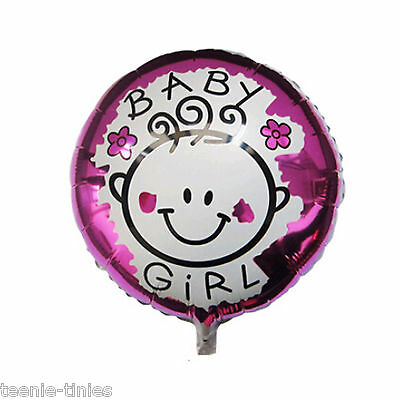 "5 X 18"" Inch Pink & White Baby Girl - Baby Shower - New Born Foil Helium Balloon"