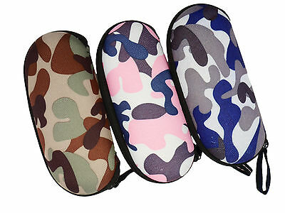 Camouflage Hard Zip Up Mens Ladies Kids Boys Glasses Spectacle Sunglasses Case