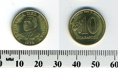 Paraguay 1996 - 10 Guaranies Brass Plated Steel Coin - Bust of Garay - F.A.O. #2