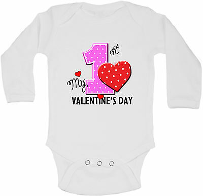 My First Valentines Day - Personalized Long Sleeve Baby Vests Bodysuits Unisex