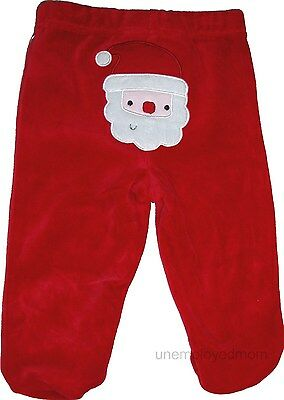 Christmas Santa Pants Long Closed in Feet Boys Girls Unisex Holiday Bottoms