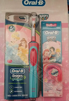 Braun Oral-B Kids Power Electric Rechargable Toothbrush Disney Princess +3 Heads