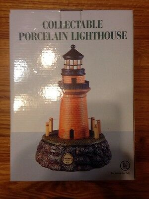 """Martha's Vineyard Collectable Hand Painted Porcelain Lighthouse 10 """" New In Box"""