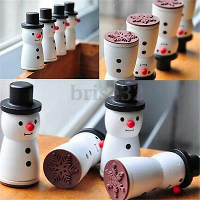 Wooden Snowman Snowflake Stamp XMAS Gift Decor Scrapbooking Card Making Stamper