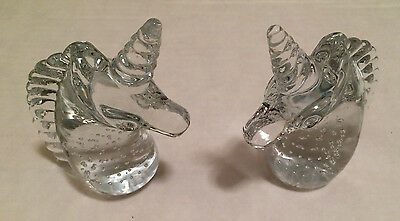 SET OF 2 ~ TWO VINTAGE MYTHICAL CLEAR GLASS CRYSTAL UNICORN FIGURINE PAPERWEIGHT