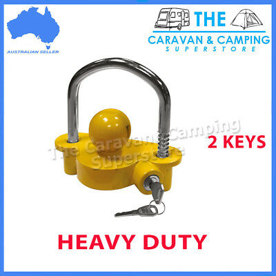 Trailer Coupling Lock Tow Ball Caravan Camper Boat Yellow Hitch Security