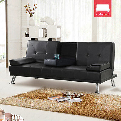 New Design Luxury Style Fold Down Sofa Bed Black Faux Leather with Drink Holders