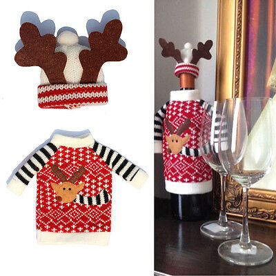 Christmas Reindeer Knitted Sweater Coat Hat Wine Bottle Wrap Cover Topper Decor