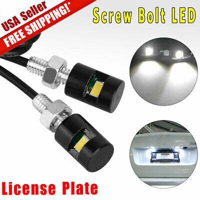 2x White Car License Plate Screw Bolt Light bulbs Lamp&LED SMD Motorcycle 6000K