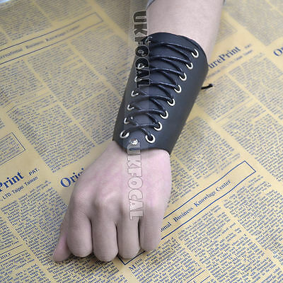 Cross Strings Leather Bracer Arm Armor Cuff Gothic Punk Cosplay Black Adjustable