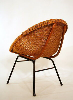 50s cane basket COCKTAIL easy CHAIR - FAUTEUIL A 50 POLTRONA A50 Sessel 50er • £224.00