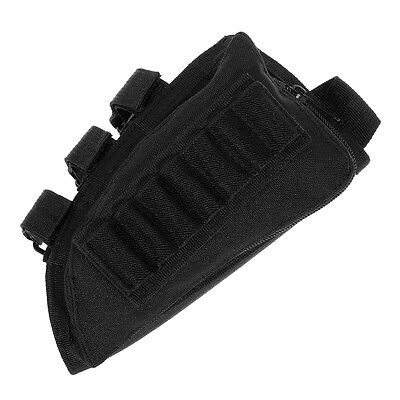 NEW Tactical Rifle Butt Stock Cheek Rest Shell Ammo Pouch Right Hand Nylon Black