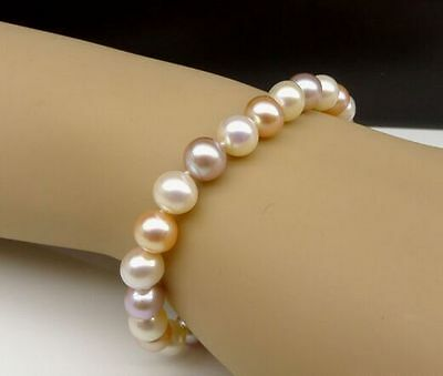 "Charming 7.5-8""9-10mm genuine south sea pink multicolor pearl bracelet"