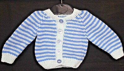 Hand Knitted Baby Cardigan in Pale and Dark Blue Stripes. 0-3 Months