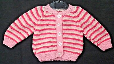 Hand Knitted Baby Cardigan in Pink Cream and Dark Pink Stripes. 0-3 Months