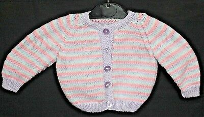 Hand Knitted Baby Cardigan in Mauve Pink and Pale Blue Stripes. 3-6 Months