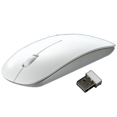 2.4G USB White Wireless Optical Mouse Cordless Mice With Nano Receiver